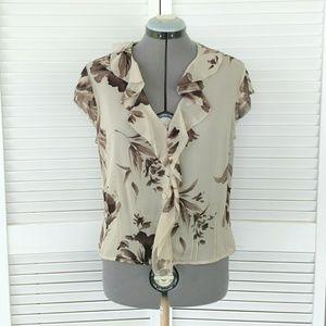 Emanuel Ungaro sheer silk button up blouse beige 8